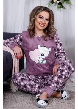 Дамскa зимна пухена пижама от велсофт и полар Влюбен Мечо 9992