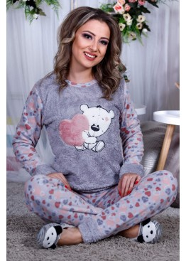 Дамскa зимна пухена пижама от велсофт и полар Влюбен Мечо 9993