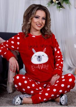 Дамскa зимна пухена пижама от велсофт и полар Зайче 9989