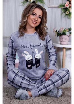 Дамскa зимна пухена пижама от велсофт и полар Зайчета 9990