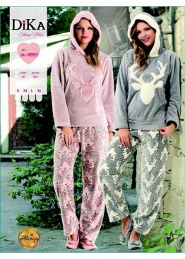 Дамска зимна пухена пижама от полар с качулка Dika 4693 с еленче в розов цвят