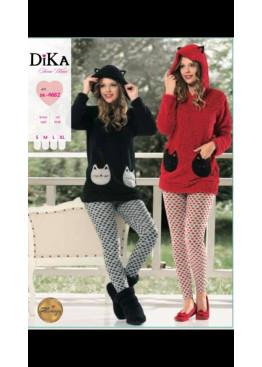 Дамска зимна пухкава пижама с качулка и качулка с ушички от полар Dika 4682 в червен цвят