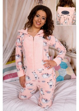 Дамска зимна топла и мека пижама гащеризон на овце с качулка с ушички 9193