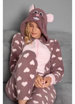 Дамска зимна топла и мека пижама гащеризон с качулка 9296 Сърца