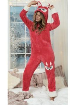 Дамска зимна топла и мека пухкава пижама гащеризон с качулка 9295 Лиса