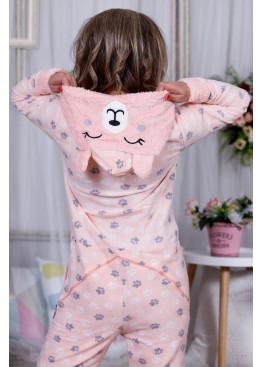 Дамска зимна топла и мека пижама гащеризон на лапички 10010