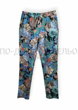 Дамски летен панталон Иватекс 8020 зелен на цветя