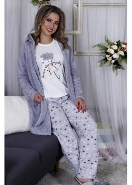 Дамски зимен комплек пижама с халат 10001