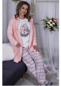 Дамски зимен комплек пижама с халат 9999