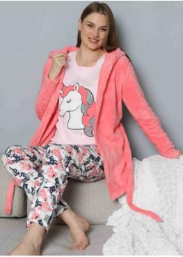 Дамски зимен комплект пухен халат с памучна пижама 7969 от 3 части Еднорог