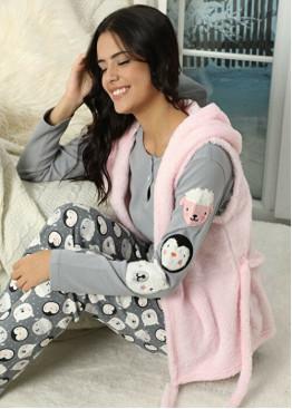 Дамски зимен комплект пухкав елек с пижама 10034