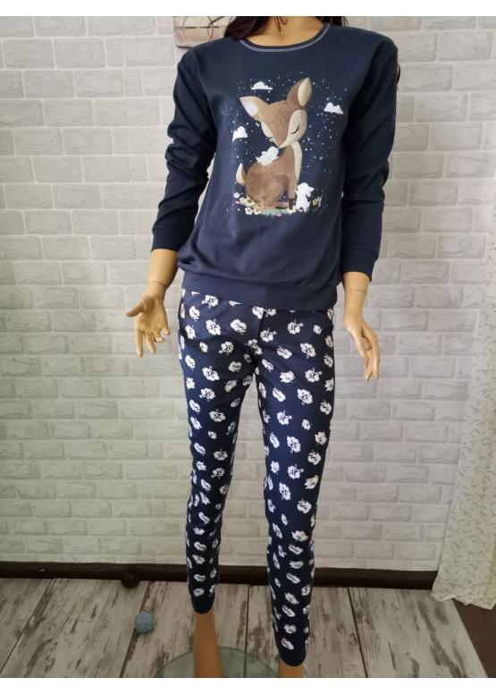 Коледна дамска памучна пижама с еленче Иватекс 3272 в тъно синьо