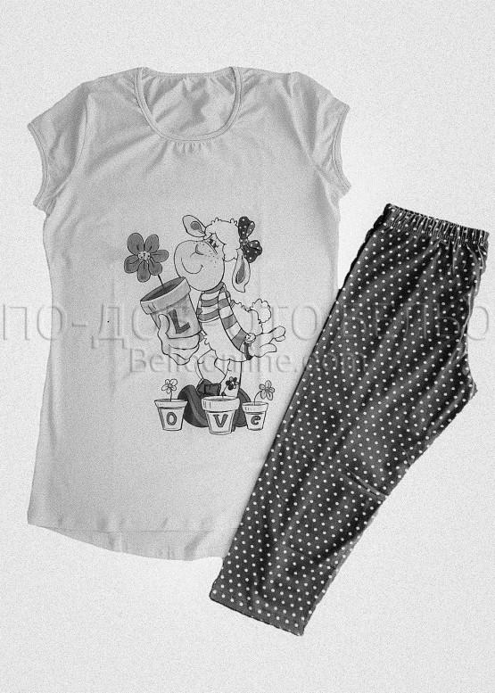 Луксозна дамска пижама с къси ръкави туника и клин Affect 8317