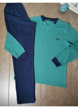 Мъжка зимна пижама от памук интерлог Иватекс 8015 в зелено