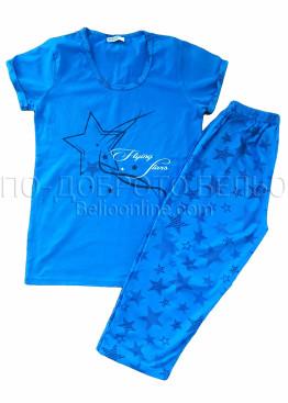 Памучна дамски пижама със звезди в синьо Петков 8305