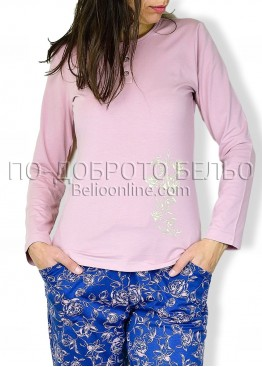 Дамска пижама с дълъг ръкав и копчета