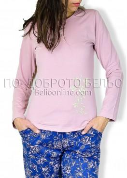 Дамска пижама с дълъг ръкав и копчета от памук и модал