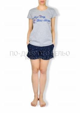 Пижама с къс ръкав и шорти на звездички  6184