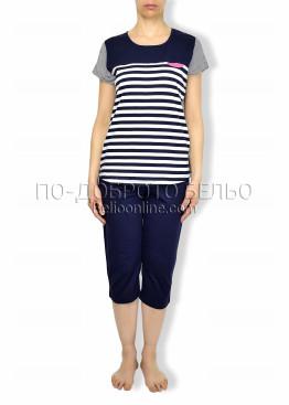 Пижама тъмно синьо райе  Иватекс 6164