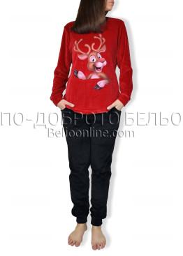 Плюшена дебела зимна пижама Иватекс 6922