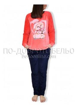Пухкава топла дамска пижама с еленчета в розово 8576
