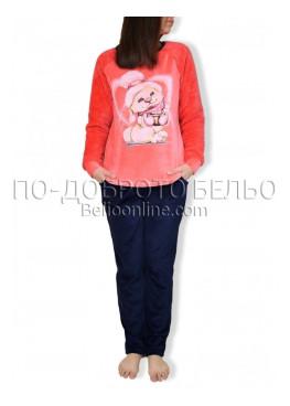 Плюшена топла дамска пижама със зайче Иватекс 2935