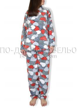 Пухена зимна пижама на червени сърца 6909