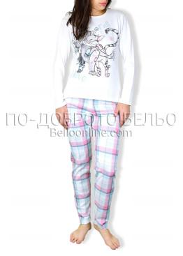 Зимна пижама интерлог с  долнище на каре 6707
