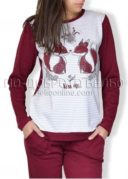 Зимна пижама интерлог в бордо 6716