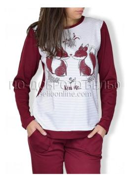 Зимна топла дамска пижама с катерички в бордо ReSlieep 8577