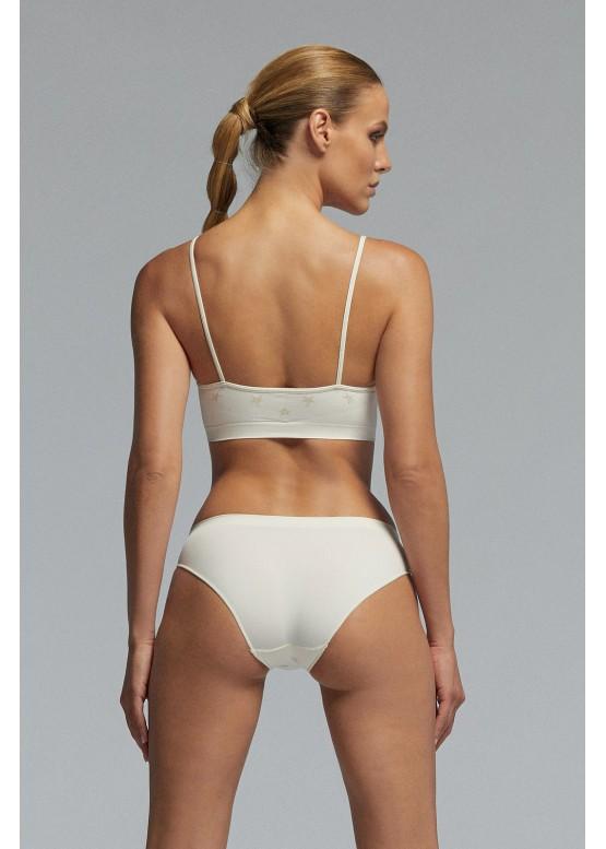 Безшевно бюстие с тънки презрамки на блестящи звезди Pompea Circus panna