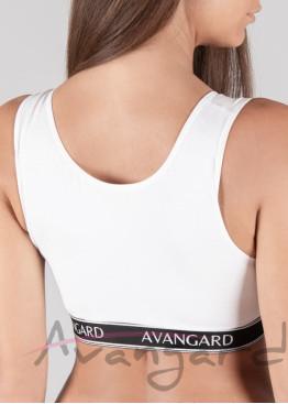 Памучно бюстие в бял цвят за фитнес с външен ластик Avangard 100S